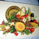 LARGER Unused MEYERCORD DECAL TRANSFER-#X-169-A,Displayed FRUIT & VEGETABLES, Basket, Plate