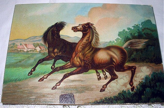 Running Horses Antique Chromolithograph Print-Excellent Condition