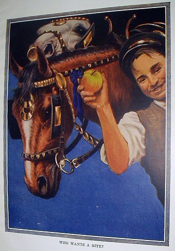 Striking Coloring!WHO WANTS A BITE?Vintage Lithograph Print-Man Feeding Two Horses Apples
