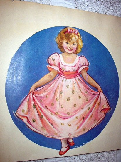 VERNON THOMAS-Girl In Pink Curtsying Magazine Artwork Print