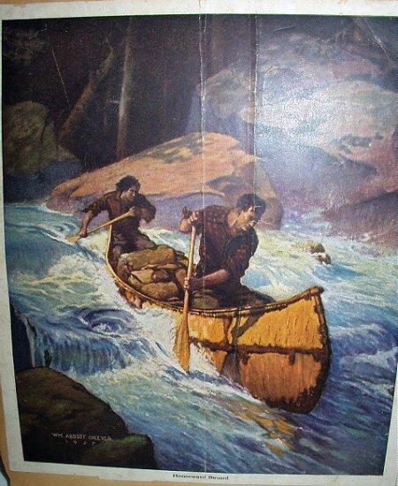 1927 HOMEWARD BOUND-Men In Canoe on Rapids Vintage Lithograph Print-WM. ABBOTT CHEEVER