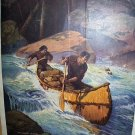 1927 HOMEWARD BOUND-Men In Canoe on Rapids Vintage Lithograph Print-WM. ABBOTT CHEEVER
