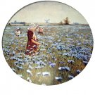 THE BLUE MEADOW Vintage Lithograph Print-Sweet Dutch Girls Picking Blue Flowers