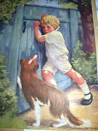 SWEET BOY WITH COLLIE DOG-A LITTLE HELPER-VINTAGE LITHOGRAPH-F.LILEY YOUNG