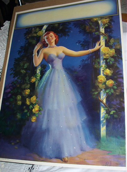 RARE-Large ART FRAHM Pin-Up ART DECO STYLE Lithograph-WAITING FOR YOU 1940s