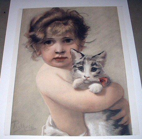 Beautiful Antique 1890 COLOR Engraving-Sweet Baby Girl Hugging Kitten