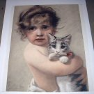 Beautiful Antique 1890 COLOR Engraving-Sweet Baby Girl Hugging Kitten