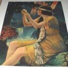Lovely INDIAN MAIDEN Vintage Lithograph Print-WABIGOON-Maiden Holding Flower,Waterfalls