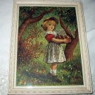 Late 1800s Antique Chromolithograph-Sweet Girl Picking Apples