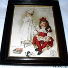 1903 MAUD HUMPHREY-LITTLE SISTERS PLAYING SCHOOL-ANTIQUE WALNUT FRAME