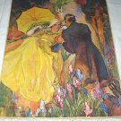 Lady In Yellow Romanced By Gentlemen Vintage Magazine Artwork Illustration-Iris Flower Garden