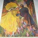Lady In Yellow Romanced By Gentlemen Vintage Magazine Artwork Illustration-Iris Flower Garden