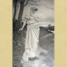 Beautiful Demure Victorian Woman Walking Down Path Antique Print