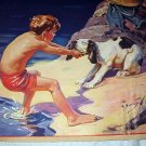 Vintage Magazine Artwork-Hy Hintermeister-Reluctant Dog Near Water