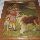 **REDUCED**Sweet Vintage Large Flawed Print-Girl,Collie Dog,Picnic Basket