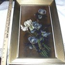 **REDUCED**1895 YARDLONG Chromolithograph Print-Vase of Purple & White Iris Flowers-LEROY