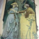 Antique Coloured Engraving-Man Romancing Victorian Lady in Rose Garden