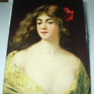 A.ASTI-Used Postcard-Flowing Hair Lady dressed in Yellow