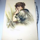 CLARENCE F. UNDERWOOD-Signed Antique Postcard-UNUSED Watercolor-THE FLIRT