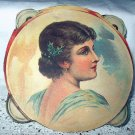 Lovely Antique Diecut Scrap-Portrait of Victorian Woman with holly in hair