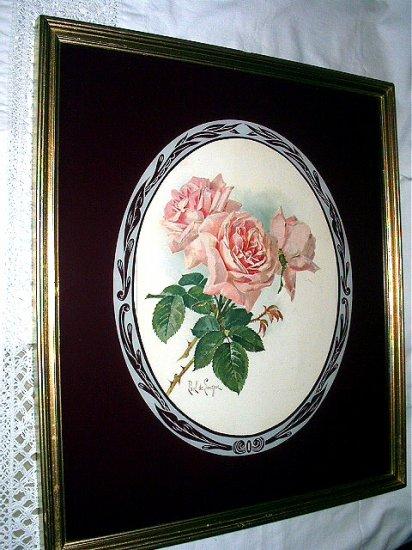 **Reduced** c1900 Paul Delongpre Pink Roses-Frmd Reverse painted
