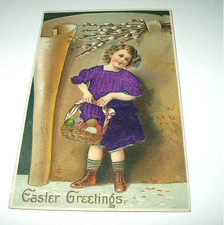 Antique Postcard-Made In Germany-Easter Greetings-Girl in Purple Dress,Easter Eggs