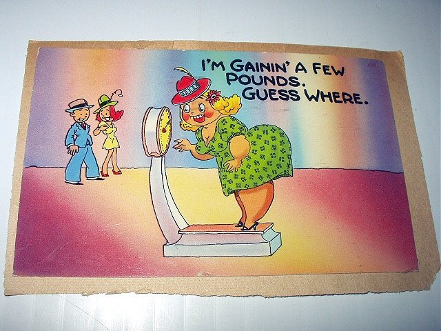 Comical Used Vintage Postcard-Weight Conscious,Woman on scales