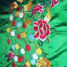 GORGEOUS Vintage Green Satin Embroidered PEACOCK Fabric with smaller flower detailing