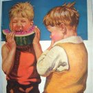 Sweet Little Boys,One Enjoying a Watermelon-J.F.Kernan Artist-Magazine Artwork
