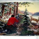 A CHANGE OF HEART-Vintage CabinArt lithograph print-Man hunting,deer,wolves