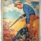 J.F.KERNAN-Young Boy Hunting with rifle,Springer Spaniel Dog-Vntg Magazine Artwork