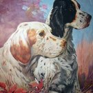 Great LYNN BOGUE HUNT Print-Two Springer Spaniel Hunting Dogs on watch