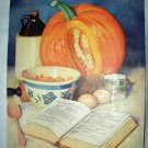 Marion Powers-Vintage Magazine Artwork print-Cooking Pumpkin Pie-Kitchen Ingredients