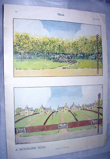 1933 Fougasse-A Woodland Echo-Lithograph Print Page by The Sketch