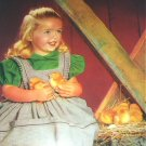 Sweet Little Girl with Baby Chicks-Friendly Playmates-1927 Original Vintage Lithograph Print