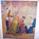 Three Wisemen Bringing Gifts To The Newborn King-Vintage print