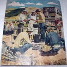 Signed Vntg.Cabin Artwork Magazine Cover-Busy Chuck Wagon Campsite,Hungry Cowboys