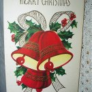 Merry Christmas Vintage Greeting Card-Group of Red Bells and Green Holly