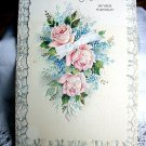 Vintage Birthday Greeting Card To Mother-Embossed Pink Cabbage Roses and Blue Flowers
