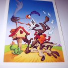 Commemorative Unused Postcard-Looney Tunes Wilie Coyote & Road Runner Stamp