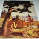 Native American Indians Building a Canoe by the Ocean-Vintage Art Illustration