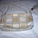 Fabulous Grey/White Leather Purse-Park Avenue,Gold Accents