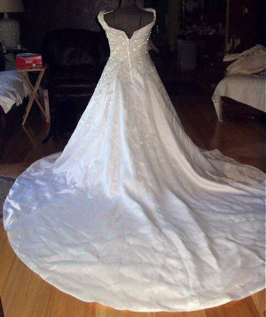 **REDUCED PRICE**Lovely White Size 10 Wedding Dress with Bugle,Teardrop Beadwork,Sequins-Long Train