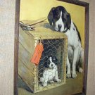 Sweet Mother and Puppy-Last Of The Litter-Great Raised Wood Carved Framed
