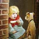 1887Antique Chromolithograph-Girl with Puppy,Unwelcome Visitor