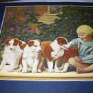 Five New Puppies Collie Dogs with Little Blonde Girl Lithograph Print