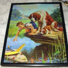 Grounded-Vibrant Lithograph-St.Bernard,Puppy,Boy with Airplane-Hy Hintermeister