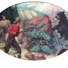Nice Vintage Cabin Artwork-Quick Action-Startled Man with Horses,Rifle,Mother Bear Protecting Cubs