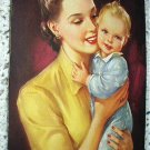 J.Erbit Lithograph Print-Young Mother Holding tiny baby-Sweet!