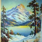 In The Heart Of The Rockies-Vintage Lithograph,Mountains,Lake,Trees in Snowy Landscape